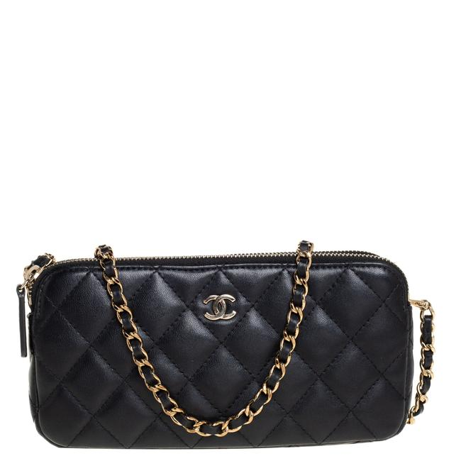 Item - on Chain Black Quilted Leather Woc Double Zip Wallet