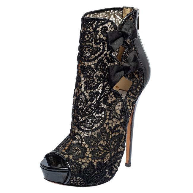 Item - Black Lace and Patent Leather Bow Peep Toe Platform Size 38 Boots/Booties