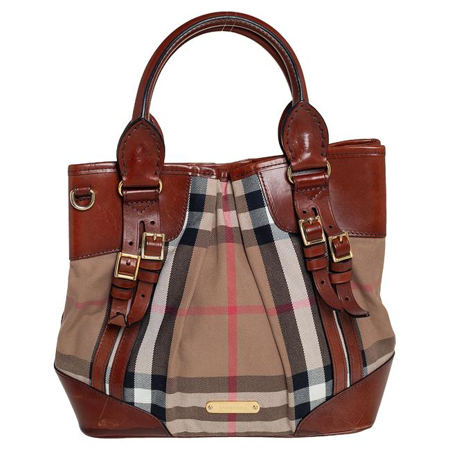Item - Brown House Check Canvas and Leather Bridle Whipstitch Tote