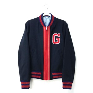 Gucci G Patch Bomber Navy X Blue X Red Wool 493709 Jacket