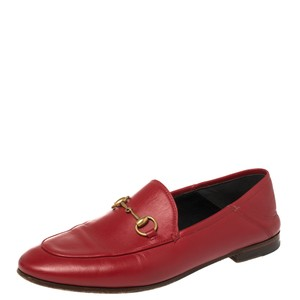 Gucci Horsebit Red Leather Foldable Slim Size 37 Loafers
