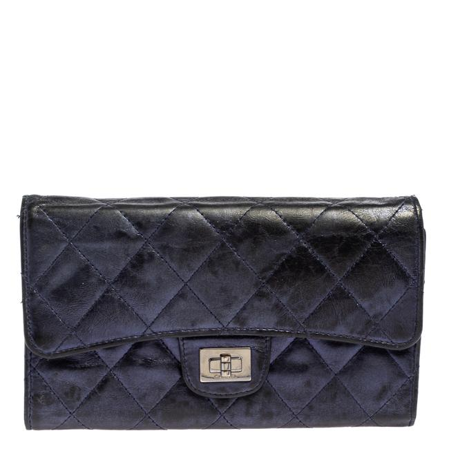 Item - 2.55 Reissue Metallic Blue Quilted Leather Trifold Wallet