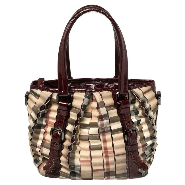 Item - Burgundy/Beige House Check Pvc and Patent Leather Lowry Ruffle Tote