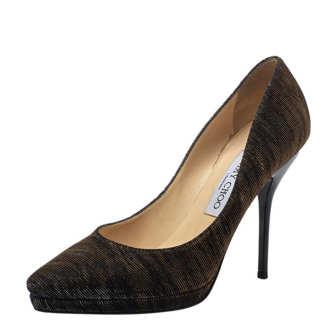 Item - Brown/Sliver Lurex Fabric and Glitter Size 38 Pumps