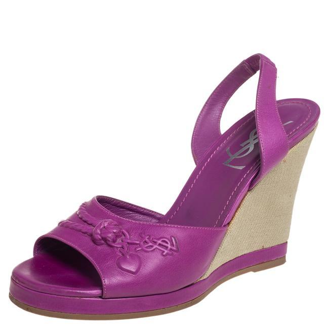 Item - Yves Purple Leather Wedge Slingback Size 38 Sandals