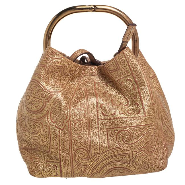Item - Gold Printed Leather Ring Pouch Clutch
