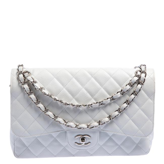 Item - Classic Flap White Quilted Caviar Leather Limited Edition Jumbo Classic Double Shoulder Bag