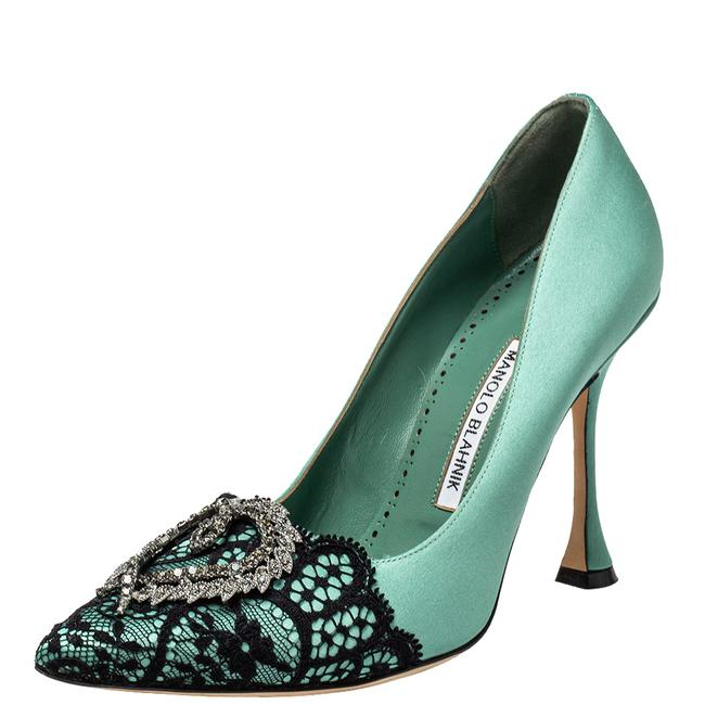 Item - Green Lace and Satin Hangisi Pointed Size 38.5 Pumps