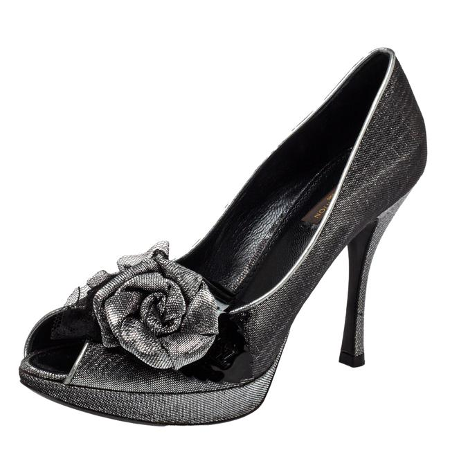 Item - Ombre Black/Silver Shimmery Lurex Fabric Floral Embellished Peep Size 37.5 Pumps