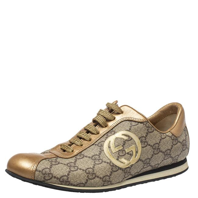 Item - Gold/Beige Leather and Gg Canvas Low Top Sneakers Size 37.5 Athletic