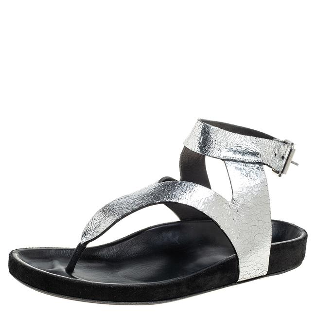 Item - Silver Leather Flat Ankle Strap Size 41 Sandals