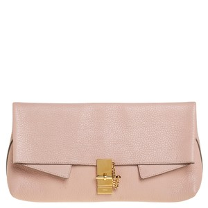 Chloé Drew Powder Pink Grained Leather Fold Over Clutch
