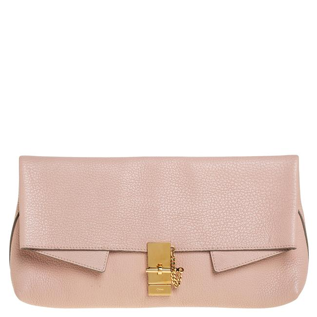 Chloé Drew Powder Pink Grained Leather Fold Over Clutch Chloé Drew Powder Pink Grained Leather Fold Over Clutch Image 1