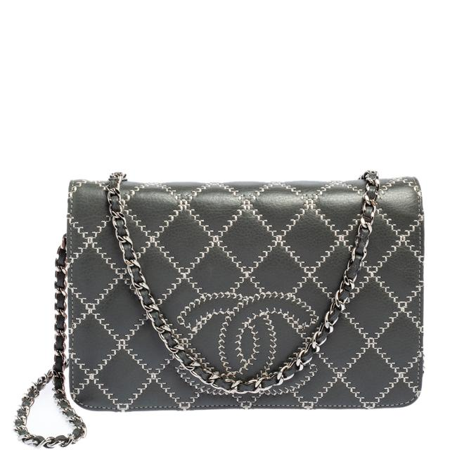 Item - on Chain Grey/Pink Quilted Leather Wild Stitch Cc Wallet