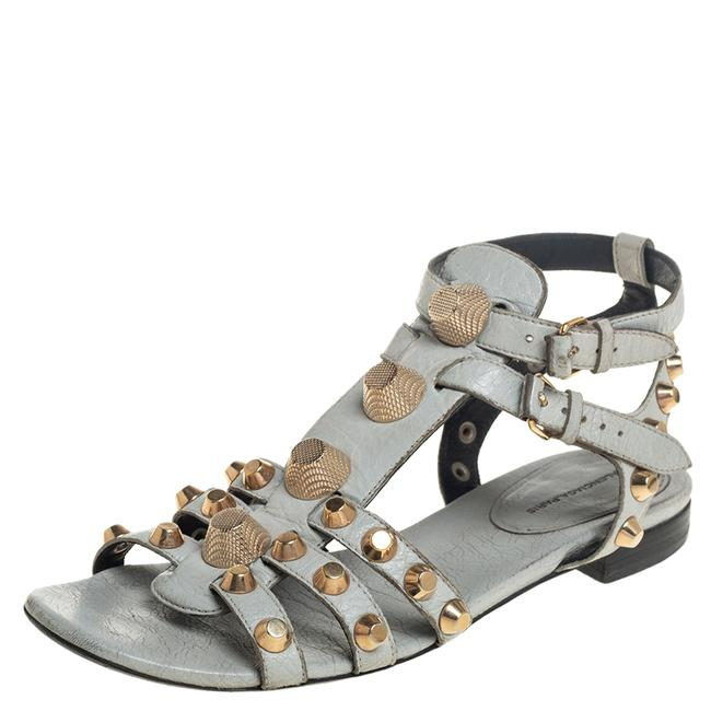 Item - Grey Leather Studded Ankle Strap Flat Size 38.5 Sandals
