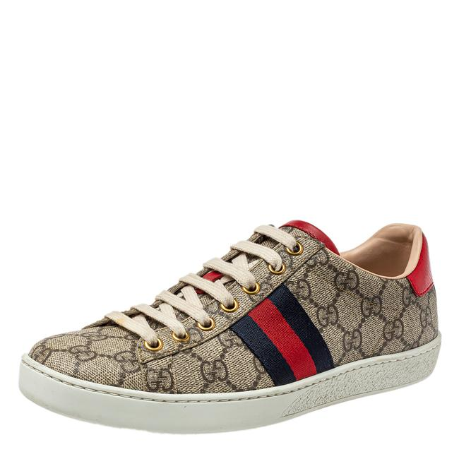 Item - Beige/Brown Gg Supreme Canvas Ace Web Low Top Sneakers Size 36.5 Athletic