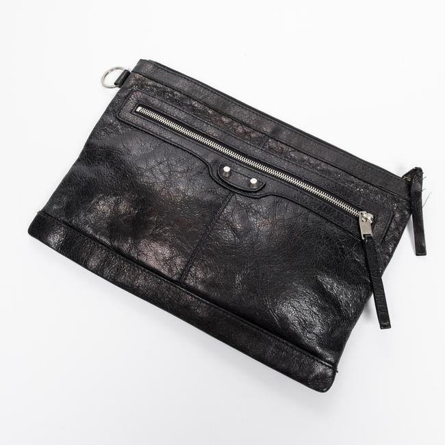 Item - Clutch Front Zip In Black Calf Leather Accessory