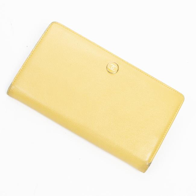 Item - Cc Button Long Bifold In Yellow Calf Leather Wallet