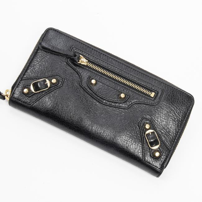 Item - Classic Continental Zip Around In Black Calf Leather Wallet