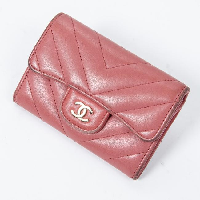 Item - Classic Flap Card Holder In Pink Calf Leather Wallet