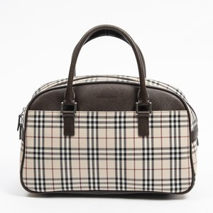 Burberry Zip Dome In Beige/Brown Canvas Tote