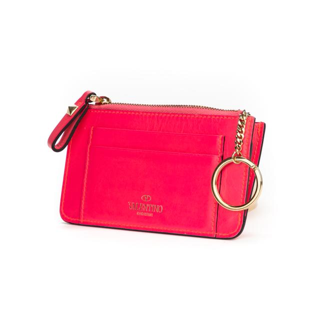 Item - Card Holder with Gold Studs In Pink Calf Leather Wallet