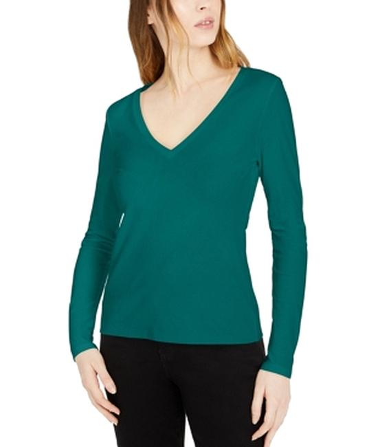 Item - Women's Top Green Size Small S V Neck Long Sleeve Solid Knit Blouse