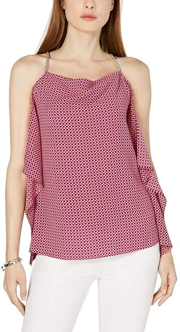 Item - XL Women's Pink Size Printed Ruffled Top Blouse