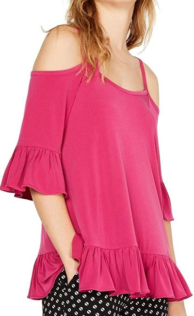 Item - Women's Pink Size Small S Cold Shoulder Ruffle Blouse