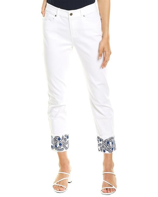 Item - Fringed Embroidered Cuff White Straight Leg 62302h Skinny Jeans