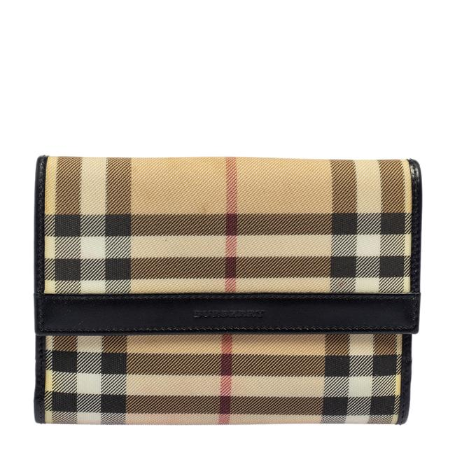 Item - Beige/Black House Check Pvc and Leather French Wallet