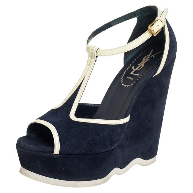 Item - Riviera Yves Navy Blue Suede and Patent Leather T Strap Platform Wedge Size 38 Sandals