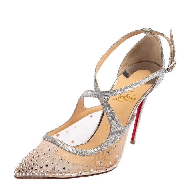 Item - Silver Lurex Fabric and Mesh Twistissima Strass Size 38.5 Sandals