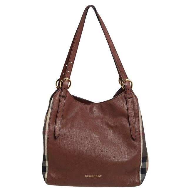 Item - Brown/Beige Leather and House Check Fabric Small Canterbury Tote