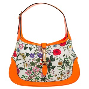 Gucci Jackie White/Neon Orange Flora Canvas and Leather Medium Hobo Bag