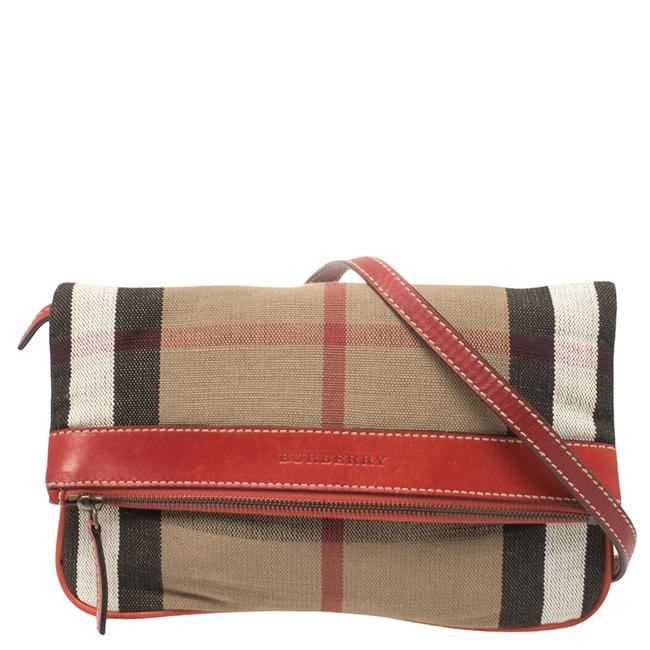 Item - Crossbody Beige/Red House Check Canvas and Leather Fold Over Shoulder Bag