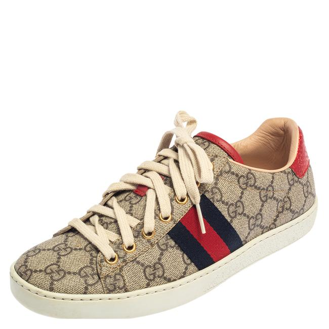 Item - Beige/Brown Gg Supreme Canvas Ace Web Low Top Sneakers Size 37 Athletic