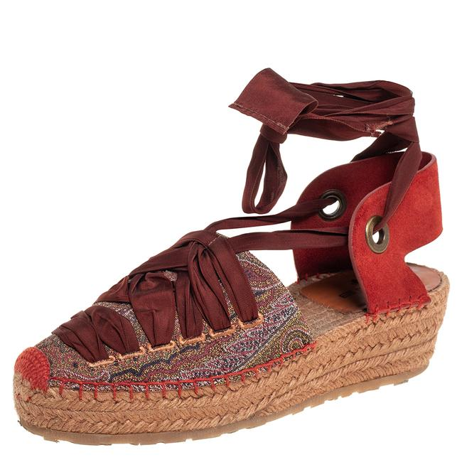 Item - Brown Canvas and Suede Espadrille Side 37 Sandals
