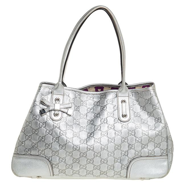 Item - Silver Gg Leather Princy Tote