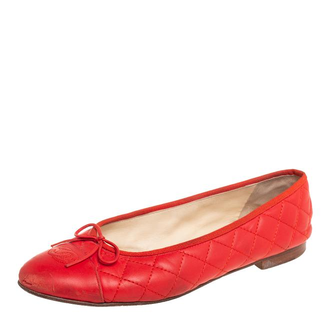 Item - Orange Quilted Leather Ballet Size 41 Flats