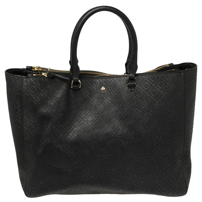 Item - Robinson Black Perforated Saffino Leather Tote