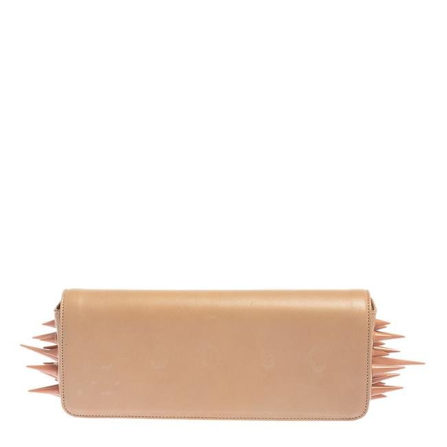 Item - Beige Leather Marquise Spiked Clutch
