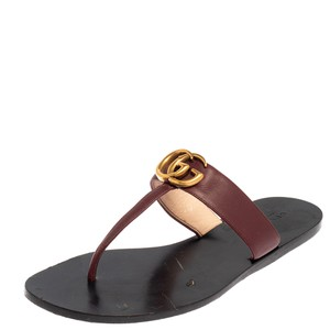 Gucci Marmont Burgundy Leather Gg Size 39 Sandals