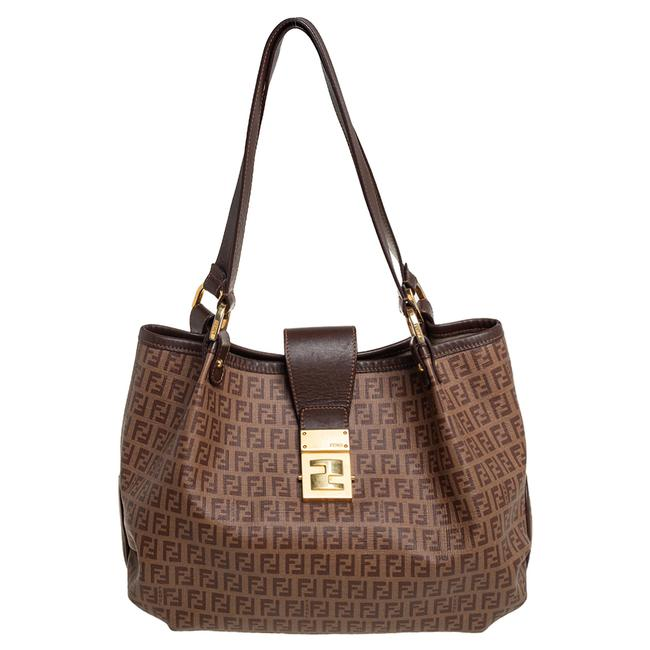 Item - Brown Zucchino Coated Canvas and Leather Chiusura Tote