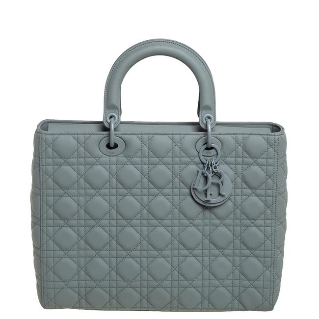 Item - Lady Grey Cannage Ultramatte Leather Large Tote
