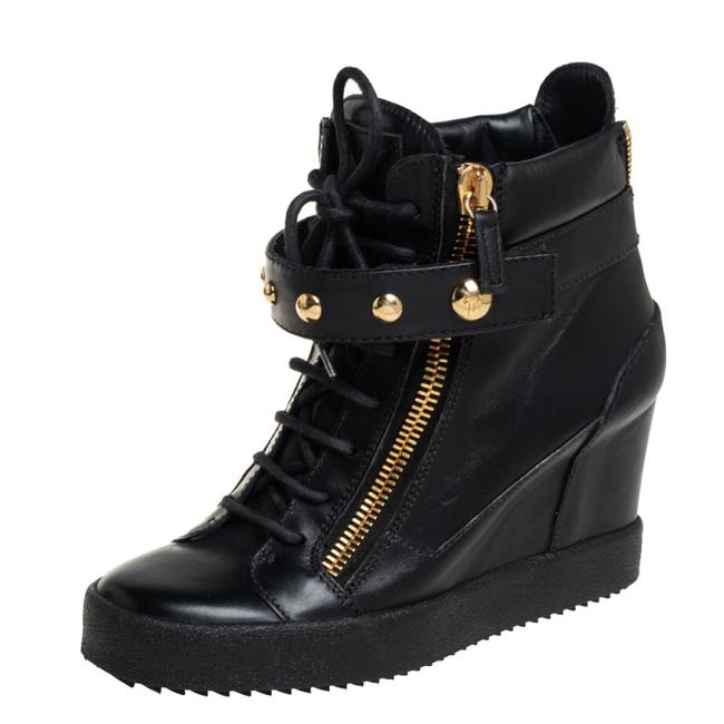 Item - Black Leather Wedge Sneakers Size 40 Athletic
