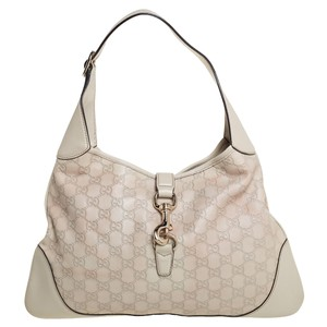 Gucci Jackie Off White Guccissima Leather O Bouvier Hobo Bag