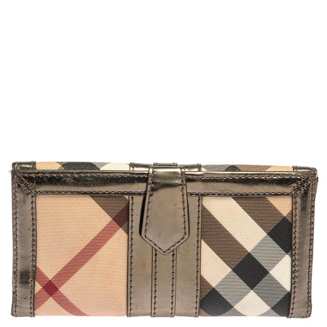 Item - Beige Nova Check Coated and Leather D-ring Continental Wallet