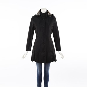 Burberry Black Hooded Trench Coat S