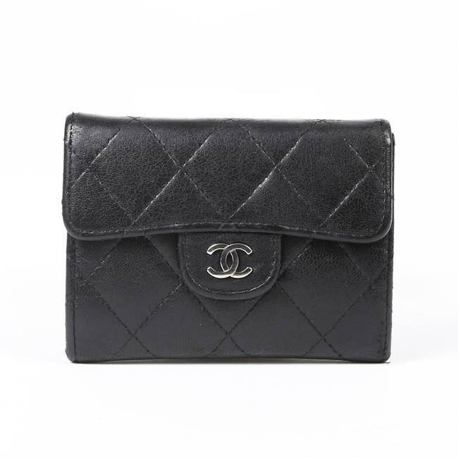 Item - Black Quilted Lambskin Cc Wallet